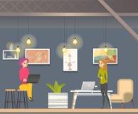 KvinnaFreelancerarbete i Coworking öppet utrymme royaltyfri illustrationer
