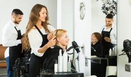 Kvinnafrisör som gör frisyren Royaltyfri Foto