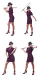Kvinnagangster med baseballslagträet Royaltyfri Fotografi