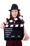 Kvinnagangster med film stiger ombord Royaltyfri Fotografi
