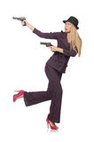 Kvinnagangster med vapnet Arkivfoton