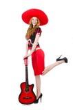 Kvinnagitarrspelare Royaltyfri Bild