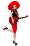 Kvinnagitarrspelare Royaltyfria Bilder