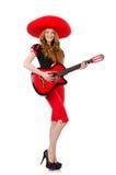 Kvinnagitarrspelare Arkivfoto