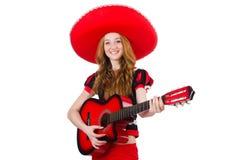 Kvinnagitarrspelare Arkivfoton