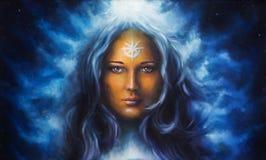 Kvinnagudinna med det långa blåa hårinnehavet royaltyfri illustrationer