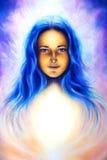 Kvinnagudinna med långt blått hår och vitt ljus, andligt blått öga, ögonkontakt stock illustrationer