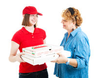 Hem- leverans för Pizza på vit Arkivfoto