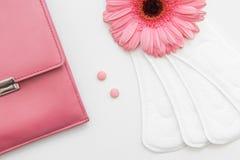 Kvinnahälsovård Dagligt block, födelsekontrollpreventivpillerar Arkivfoto