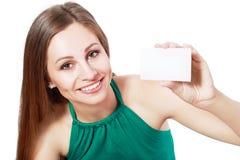 Kvinnahållkort fotografering för bildbyråer