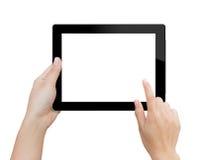 Kvinnahand genom att använda åtlöje upp digital minnestavla isolerad urklipplapp Arkivfoton