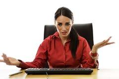 Kvinnahandboja till skrivbordet Arkivbild