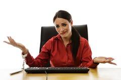 Kvinnahandboja till skrivbordet Royaltyfri Bild