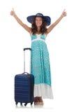 Kvinnahandelsresande med den isolerade resväskan Royaltyfria Bilder