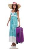 Kvinnahandelsresande med resväskan Arkivbild