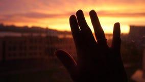 Kvinnahanden trycker på solen vid fönstret på solnedgångstadsbakgrund i ultrarapid 3840x2160 arkivfilmer