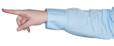 Kvinnahanden visar en gest som ett teckenspråk royaltyfria foton