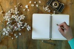 Kvinnahandstil på den tomma anteckningsboken bredvid trädet för körsbärsröda blomningar för vår det vita på tappningträtabellen Royaltyfria Foton