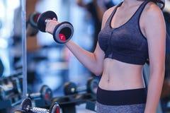 Kvinnahantlar som utbildar på idrottshallen som gör muskelutbildning på idrottshallen Fotografering för Bildbyråer