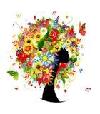 Kvinnahuvuddesign, frisyr för fyra säsonger med stock illustrationer