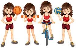 Kvinnaidrottsman nen som gör olika sportar Royaltyfri Bild