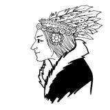 Kvinnaindianen skissar Stock Illustrationer