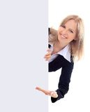 Kvinnainnehav undertecknar - ståenden av ett härligt kvinnainnehav en bla Arkivfoto