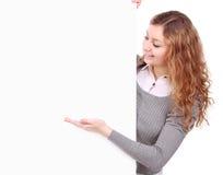 Kvinnainnehav undertecknar - ståenden av ett härligt kvinnainnehav en bla Arkivfoton
