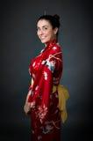 Kvinnajapan kimono Arkivfoto