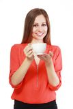 Kvinnakaffekopp royaltyfri fotografi