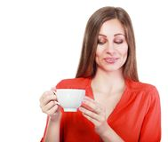Kvinnakaffekopp fotografering för bildbyråer