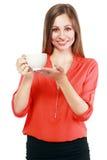 Kvinnakaffekopp royaltyfria bilder