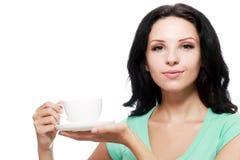 Kvinnakaffekopp royaltyfri bild