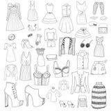 Kvinnakläder och tillbehör Royaltyfri Foto