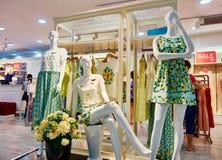 Kvinnaklädlagret, modekläder shoppar inre Arkivfoton