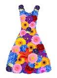 Kvinnaklänning från vårblommor Royaltyfri Bild