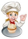 Kvinnakock eller bagare Cartoon royaltyfri illustrationer