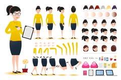 KvinnakontoristWearing Skirt Character skapelse Kit Template med olika ansiktsuttryck vektor illustrationer