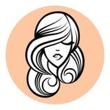 Kvinnakontur, kvinnors framsidateckning Abstrakt designbegrepp Arkivfoto