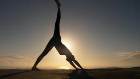 Kvinnakontur som gör yogakonditionexersice på havsstranden i soluppgång arkivfilmer
