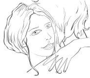 Kvinnakramman, romantiskt par Arkivbild