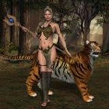 Kvinnakrigare och katt royaltyfri fotografi