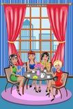Kvinnakvinnavänner som pratar kaffe, kopplar av kafét vektor illustrationer
