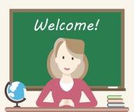 Kvinnalärare i klassrum stock illustrationer