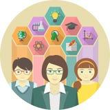 Kvinnalärare och elever med utbildningssymboler Arkivbild