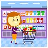 Kvinnalivsmedelsbutikshopping Fotografering för Bildbyråer