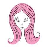 Kvinnalogovektor, skönhetsymbolsdesign, rengöringsduksymbol, affärstecken royaltyfri illustrationer