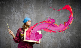 Kvinnamålare Royaltyfri Fotografi