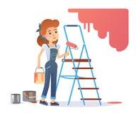 Kvinnamålare stock illustrationer