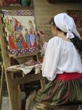 Kvinnamålning Royaltyfri Foto